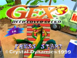 Title screen of Gex 3: Deep Cover Gecko on the Sony Playstation.
