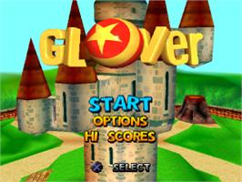 Title screen of Glover on the Sony Playstation.
