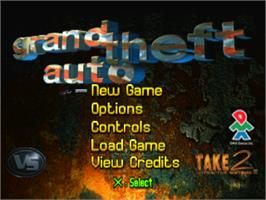 Title screen of Grand Theft Auto on the Sony Playstation.