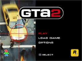 Title screen of Grand Theft Auto 2 on the Sony Playstation.