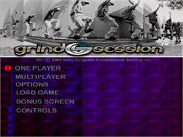 Title screen of Grind Session on the Sony Playstation.