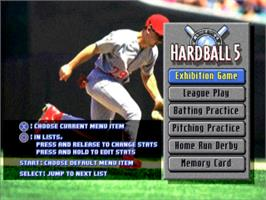 Title screen of Hardball 5 on the Sony Playstation.