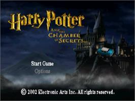Title screen of Harry Potter and the Chamber of Secrets on the Sony Playstation.