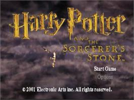 Title screen of Harry Potter and the Sorcerer's Stone on the Sony Playstation.