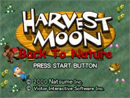 Title screen of Harvest Moon: Back to Nature on the Sony Playstation.