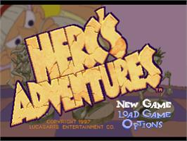 Title screen of Herc's Adventures on the Sony Playstation.