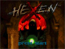 Title screen of Hexen: Beyond Heretic on the Sony Playstation.