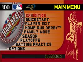 Title screen of High Heat Major League Baseball 2002 on the Sony Playstation.