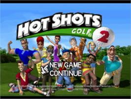 Title screen of Hot Shots Golf 2 on the Sony Playstation.