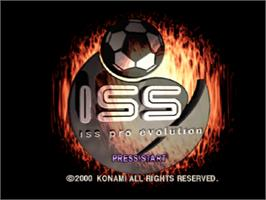 Title screen of ISS Pro Evolution on the Sony Playstation.