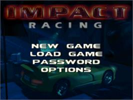 Title screen of Impact Racing on the Sony Playstation.