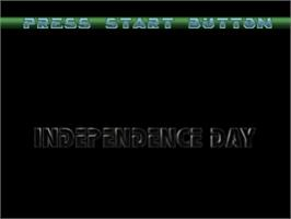 Title screen of Independence Day on the Sony Playstation.
