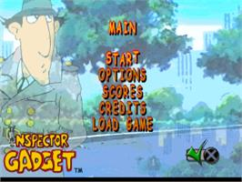 Title screen of Inspector Gadget: Gadget's Crazy Maze on the Sony Playstation.