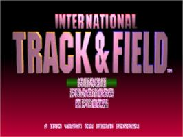 Title screen of International Track & Field on the Sony Playstation.