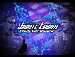 Title screen of Jarrett and Labonte Stock Car Racing on the Sony Playstation.