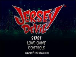 Title screen of Jersey Devil on the Sony Playstation.