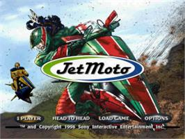 Title screen of Jet Moto on the Sony Playstation.