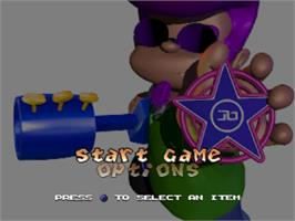 Title screen of Johnny Bazookatone on the Sony Playstation.