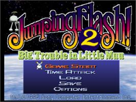 Title screen of Jumping Flash! 2 on the Sony Playstation.