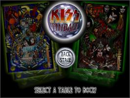 Title screen of Kiss Pinball on the Sony Playstation.