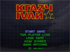 Title screen of Krazy Ivan on the Sony Playstation.