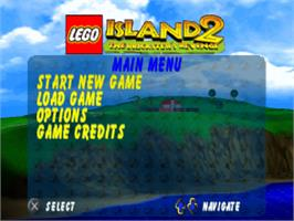 Title screen of LEGO Island 2: The Brickster's Revenge on the Sony Playstation.