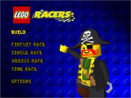 Title screen of LEGO Racers on the Sony Playstation.