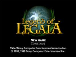 Title screen of Legend of Legaia on the Sony Playstation.