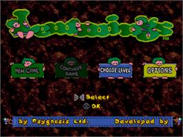 Title screen of Lemmings & Oh No! More Lemmings on the Sony Playstation.