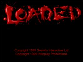 Title screen of Loaded on the Sony Playstation.