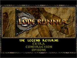 Title screen of Lode Runner: The Legend Returns on the Sony Playstation.