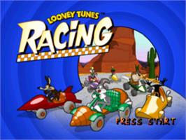 Title screen of Looney Tunes Racing on the Sony Playstation.