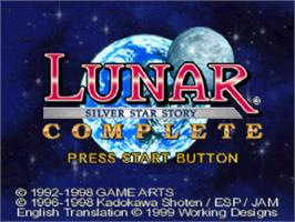 Title screen of Lunar: Silver Star Story Complete on the Sony Playstation.