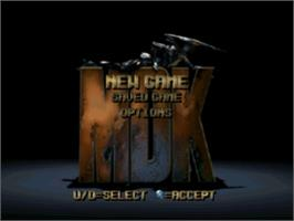 Title screen of MDK on the Sony Playstation.