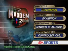 Title screen of Madden NFL 2000 on the Sony Playstation.