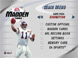 Title screen of Madden NFL 2002 on the Sony Playstation.