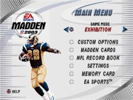 Title screen of Madden NFL 2003 on the Sony Playstation.