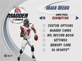 Title screen of Madden NFL 2004 on the Sony Playstation.