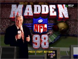 Title screen of Madden NFL 98 on the Sony Playstation.