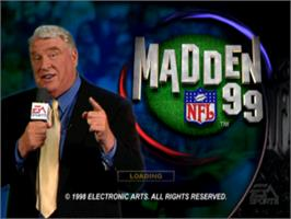 Title screen of Madden NFL 99 on the Sony Playstation.