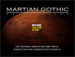 Title screen of Martian Gothic: Unification on the Sony Playstation.