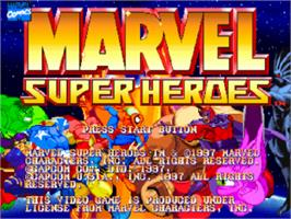 Title screen of Marvel Super Heroes on the Sony Playstation.