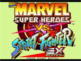 Title screen of Marvel Super Heroes Vs. Street Fighter on the Sony Playstation.