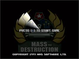 Title screen of Mass Destruction on the Sony Playstation.