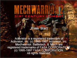 Title screen of MechWarrior 2: 31st Century Combat on the Sony Playstation.
