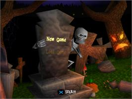 Title screen of MediEvil on the Sony Playstation.