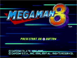 Title screen of Mega Man 8: Anniversary Edition on the Sony Playstation.