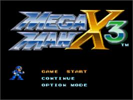 Title screen of Mega Man X3 on the Sony Playstation.