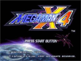 Title screen of Mega Man X4 on the Sony Playstation.