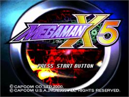 Title screen of Mega Man X5 on the Sony Playstation.